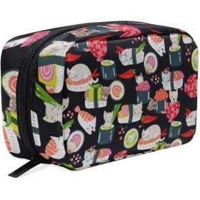 猫 寿司 化粧ポーチ メイクポーチ 機能的 大容量 化粧品収納 小物入れ 普段使い 出張 旅行 メイク ブラシ バッグ 化粧バッグ