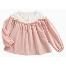 qighaima レース 女の子 トップ 王女 可愛い ピンク シャツ 長いです スリーブ 休日 子供たち 服3-4歳/ 110cm KTW7142