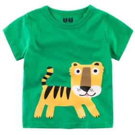 (美来Kids) 子ども服 男の子 キッズ Tシャツ 半袖 車 シャーク柄 恐竜柄 普段着 夏服 カジュアル 子供 100 110 120 (100, 緑)
