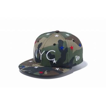 NEW ERA ニューエラ キッズ 9FIFTY スターズ NYC ロゴ ウッドランドカモ スナップバックキャップ アジャスタブル サイズ調整可能 ベースボールキャップ キャップ 帽子 男の子 女の子 52 - 55.8cm 12108308 NEWERA