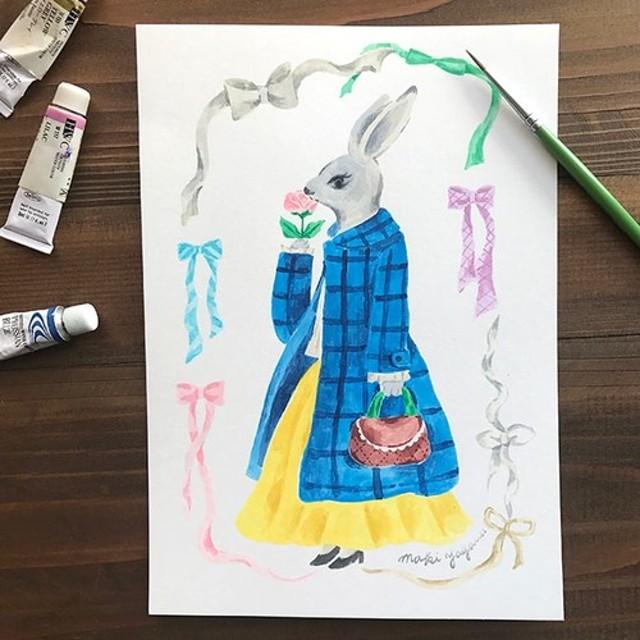 原画オーダー-大好きな洋服を着たあなたのポートレートをお描きします!(うさぎ)-