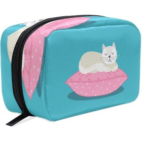 Carrozza 化粧ポーチ メイクボックス ポーチ 仕切り レディース 女の子 学生 おしゃれ 猫 動物 枕 化粧バッグ メイクポーチ 化粧ボックス コスメバッグ 小物ケース かわいい