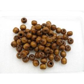 ウッドビーズ 6x7mmマル ライトブラウン 薄い茶 約100個 35-LB