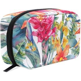 ポータブル トイレタリーバッグ 多機能化粧品バッグ 化粧 防水 旅行 たむろする 整理用バッグ女性女の子用 水彩熱帯の花 Watercolor Vintage Floral Tropical