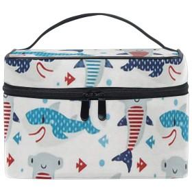 メイクポーチ 可愛い サメ柄 化粧ポーチ 化粧箱 バニティポーチ コスメポーチ 化粧品 収納 雑貨 小物入れ 女性 超軽量 機能的 大容量