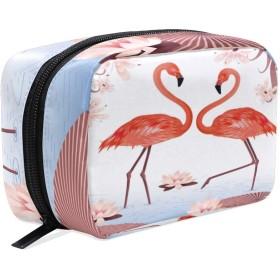 UOOYA おしゃれ 化粧ポーチ ピンク フラミンゴ Flamingo 鳥柄 軽量 持ち歩き メイクポーチ 人気 小物入れ 収納バッグ 通学 通勤 旅行用 プレゼント用