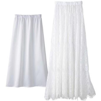 GeeRA 2WAYレースロングスカート ホワイト M レディース 5,000円(税抜)以上購入で送料無料 フレアスカート 夏 レディースファッション アパレル 通販 大きいサイズ コーデ 安い おしゃれ お洒落 20代 30代 40代 50代 女性 スカート