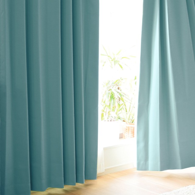 LOWYA カーテン 遮光 形状記憶 ドレープ単品 幅125x丈178 1枚組 ライトブルー