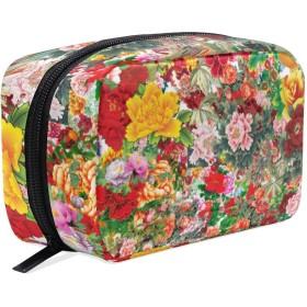 カラフルの牡丹 化粧ポーチ メイクポーチ 機能的 大容量 化粧品収納 小物入れ 普段使い 出張 旅行 メイク ブラシ バッグ 化粧バッグ