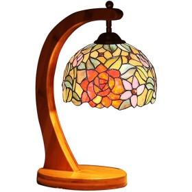 ティファニースタイルテーブルランプクリエイティブベッドサイドランプレトロリビングルームの寝室の照明器具オフィスデスクデコレーションランプ、W8x H15、110-240V / E27  1