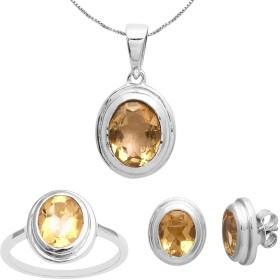 女性用シトリン宝石925スターリングシルバーペンダントセット (Ring Size 13)