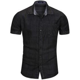 メンズラペルプラスサイズポケットボタンチェックカジュアルチェック柄デニム夏半袖コットンシャツトップ (Color : 1, Size : XXXL)
