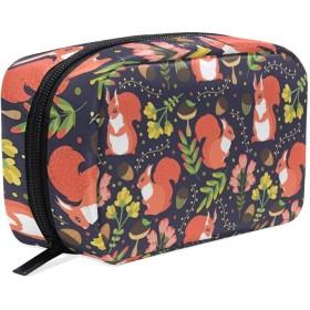 リス 松かさ 化粧ポーチ メイクポーチ 機能的 大容量 化粧品収納 小物入れ 普段使い 出張 旅行 メイク ブラシ バッグ 化粧バッグ