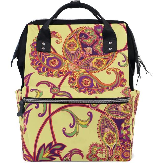 ママバッグ マザーズバッグ リュックサック ハンドバッグ 旅行用 木と花柄 金黄色 ファション