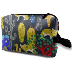 サボテン 木 キツネ 化粧バッグ 収納袋 女大容量 化粧品クラッチバッグ 収納 軽量 ウィンドジップ