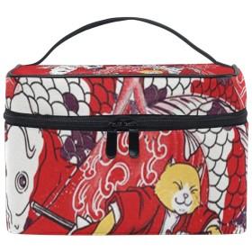 メイクポーチ 猫の侍魚を解く 化粧ポーチ 化粧箱 バニティポーチ コスメポーチ 化粧品 収納 雑貨 小物入れ 女性 超軽量 機能的 大容量