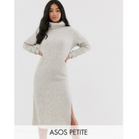 エイソス ASOS Petite レディース ワンピース ミドル丈 ワンピース・ドレス ASOS DESIGN Petite chunky midi dress with side split in r