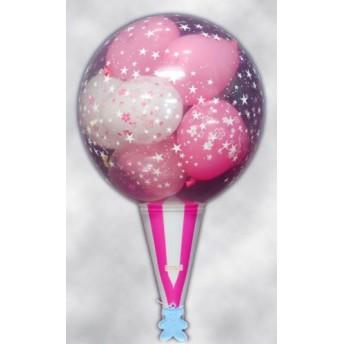 (バルーン電報・バルーンギフト)ハートの風船が飛び出す!クラッカーバルーン10(桜)