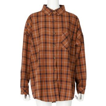 Alluge チェックビッグシャツ(ブラウン)