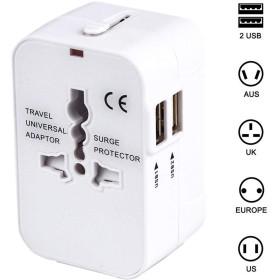 海外安全旅行充電器 コンパクトな コンセント 2USBポート変換プラグ 電源プラグ 旅行アダプター 壁の充電器 NONNBIRI (ホワイト)