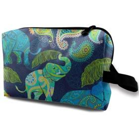 カラフル ゾウ 柄 化粧バッグ 収納袋 女大容量 化粧品クラッチバッグ 収納 軽量 ウィンドジップ