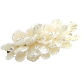 [cream dot クリームドット]ヘアアクセサリー レディース 人気 バレッタ ヘアクリップ くるりんぱ 大きめ 花 フラワー パ 【ホワイト×ワンサイズ】
