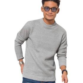 (ビッチ)VICCI メンズ セーター ニット モックネック ストレッチ 畦編み 長袖 ボーダー柄VIJP18-09 44(M) GRY【+】