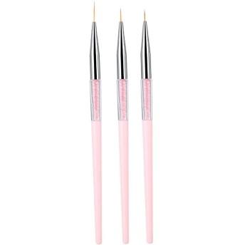 3本ネイルアートドットライナーブラシ ネイルブラシ ネイルライナーブラシ UVジェル絵画ペン 描画ツールセットラインストーンハンドル(Pink)