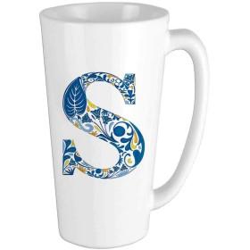 Azulejoをモチーフにしたフレームに昔ながらのアルファベットタイポグラフィデザインブルーイエローオレンジコーヒーマグ、面白いマグ、セラミックカップ、誕生日プレゼント、記念日の贈り物 16oz