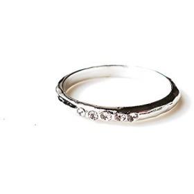 [メロディーアクセサリー](Melody Accessory 日本製 5石 ラインストーン ピンキーリング 指輪 (RG-N5) シルバー色 1号