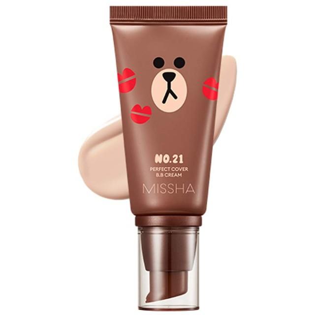 Missha M Perfect Cover BB Cream SPF42 PA+++ [Line Friends Edition] ミシャ(ラインフレンズ)MパーフェクトカバーB.Bクリーム (#21 Light Beige) [並行輸入品]