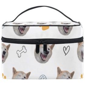 メイクボックス Doggoコーギー柄 化粧ポーチ 化粧品 化粧道具 小物入れ メイクブラシバッグ 大容量 旅行用 収納ケース
