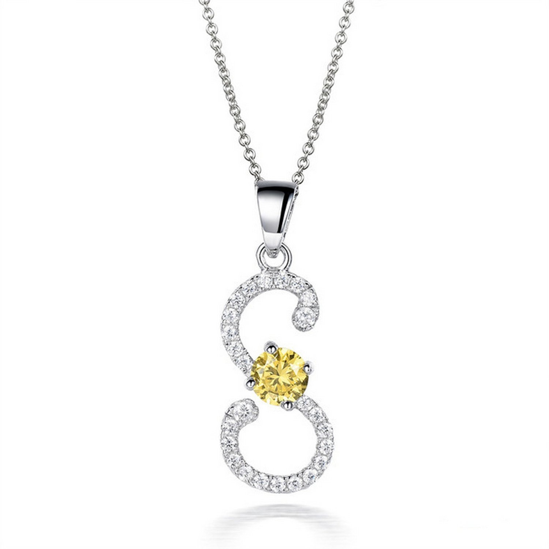 CS-DB Jewelry Silver 0.87ct Gemstones Charm I Chain Charm Pendants Necklaces