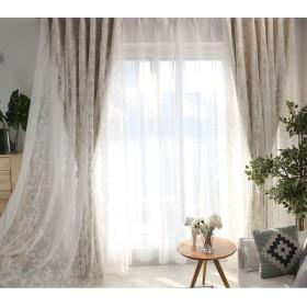 新し暮らし カーテン 姫 遮光カーテン 刺繍カーテン レース カーテン 北欧 ベージュ かわいい 二重カーテン 遮光率95% 幅100cm110cm 2枚組