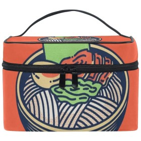 メイクボックス ラーメン柄 化粧ポーチ 化粧品 化粧道具 小物入れ メイクブラシバッグ 大容量 旅行用 収納ケース