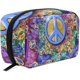化粧品袋 トイレタリーバッグ 大容量とマルチコンパートメント付き 美容製品 整理用女性女の子用 プレゼント Peace And Love