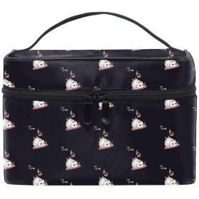 猫とマウスブラック収納バッグ コスメポーチ 化粧ポーチ 洗面用具入れ トラベルポーチ 旅行 出張 収納 コスメバッグ コンパクト 超軽量