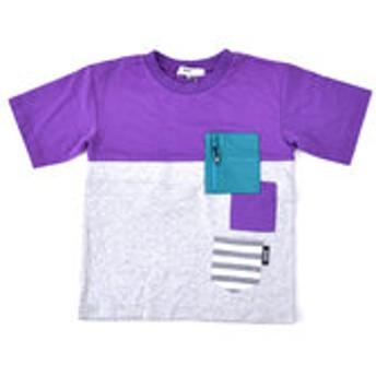 【BEBE ONLINE STORE:トップス】天竺バイカラーワイドTシャツ(110cm~130cm)