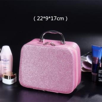 化粧ポーチ 小さい, 化粧バッグ旅行 ポータブル 大容量 収納ボックス かわいい ミニ な スーツケース ビルド 女性化粧品バッグ-ピンクA 22x9x17cm(9x4x7inch)