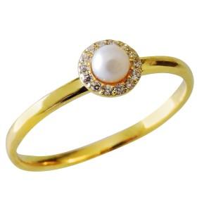 真珠の杜 パール 真珠 K18 ゴールド アンティーク調 指輪 リング レディース 5号