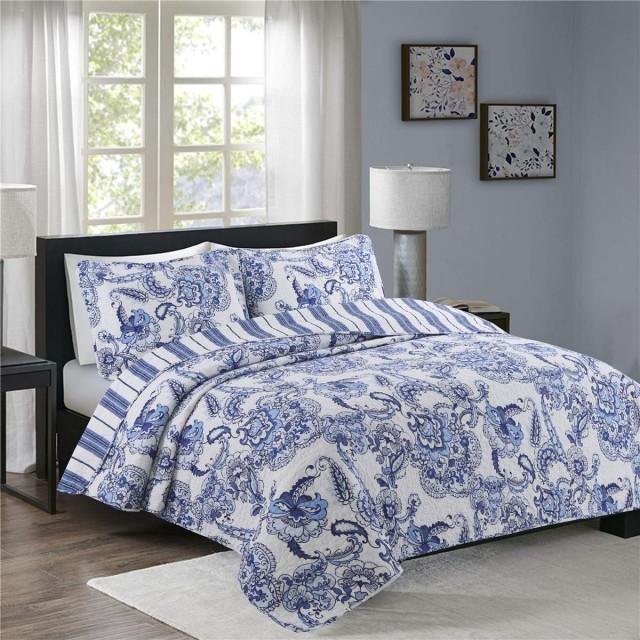 北欧田園風 仕立て ベッドカバー 洗える ベッドスプレッド 掛ふとん 枕カバー 3点セット 230250cm 綿100%