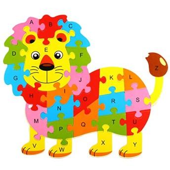 26手紙10 パターン子供キッズ教育木製パズル フクロウ蝶タートル魚カバ インテリジェント おもちゃ-lion