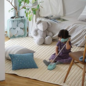タオル素材の綿100%ラグ コットンキルト(130×185cm) ライトベージュ cucan ミルクホーム MILK HOME スミノエ 洗える おしゃれ すべり止め 赤ちゃんに優しい 綿 100% 北欧 夏用 洗える キルティング イブル コットン カフェ風 1.5畳ラグ ラグマット ホットカーペット 床暖房対応
