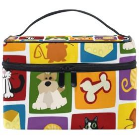 メイクボックス 犬 ネズミ柄 化粧ポーチ 化粧品 化粧道具 小物入れ メイクブラシバッグ 大容量 旅行用 収納ケース