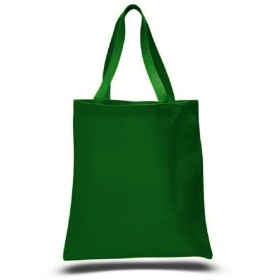 (Forest Green) - Promotional Priced Heavy Cotton Canvas Shopping Blank Tote Bag Art Craft (Forest Green)