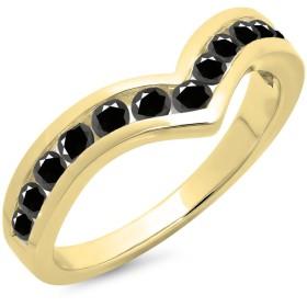 0.60カラット(CTW)14Kゴールドラウンドブラックダイヤモンド結婚記念スタッカブルバンドガードシェブロンリング