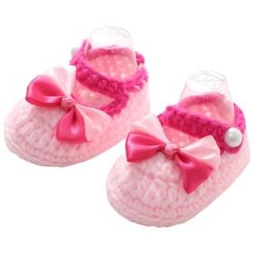 YiyiLai ベビー ニットシューズ 新生児 シューズ 毛糸 手編み 靴 赤ちゃん ファーストシューズ 蝶結び ピンク