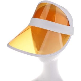 DC UVカット帽子 UVカットハット 日焼け止めキャップ 折り畳み式 バイザー ヘッドギア 紫外線を防ぐ(オレンジ)