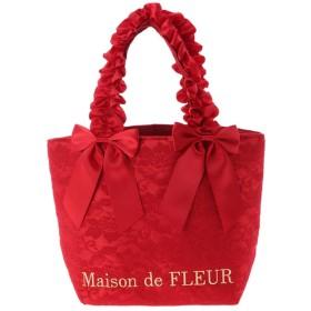 メゾンドフルール Maison de FLEUR レースダブルリボンフリルハンドルトートバッグ (Bordeaux)