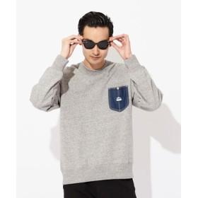 Lee 【メンズ&レディーススウェット2枚目半額】デニムポケット付きクルーネックトレーナー メンズ グレー